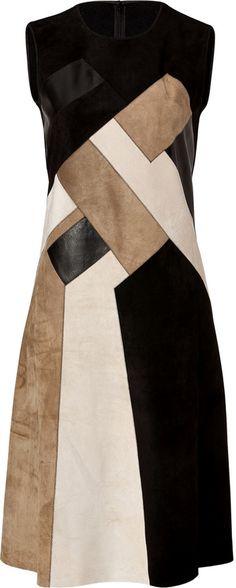 Derek Lam Leather/Suede Patchwork Dress Palissandro/Black