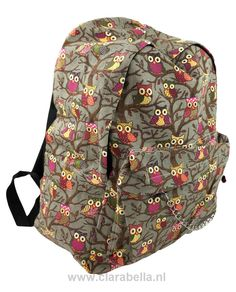 Colorful Owl On Grey Mix Rucksack  Price: €19.95  http://www.clarabella.nl/accessories/bags/rucksack/mix/colorful-owl-on-grey-mix-rucksack/   15% discount on EVERYTHING in our store. Sign up here to receive your personal discount code:http://eepurl.com/boSy7H