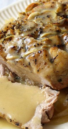 This Garlic Herb Pork Roast and Creamy White Wine Gravy turned a normal blah day into something special, we weren't even expecting it be that good. # Garlic Herb Pork Roast and Creamy White Wine Gravy Recipe Pork Tenderloin Recipes, Pork Chop Recipes, Pork Loin, Chicken Recipes, Keto Chicken, Healthy Chicken, Pork Roast Marinade, Baked Chicken, Roast Brisket