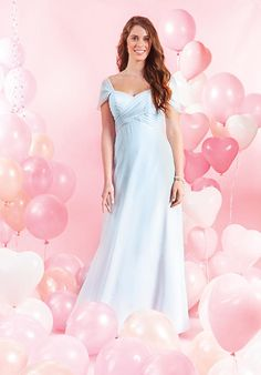 Chiffon floor length gown with a draped sweetheart neckline | Alfred Angelo | https://www.theknot.com/fashion/7385l-maidtolove-by-alfred-angelo-bridesmaid-dress