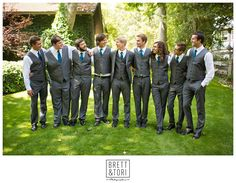 Love the Blue/Teal and the Dark Gray Groomsmen colors! The question is: Vests, or No Vests?