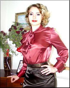 blouse and skirt Satin Top, Satin Skirt, Satin Dresses, Silk Satin, Red Satin, Blouse Sexy, Bow Blouse, Blouse And Skirt, Satin Bluse