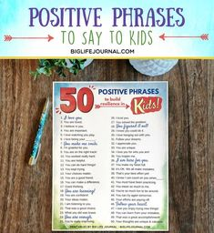 positive phrases to build resilience in kids big life journal printable