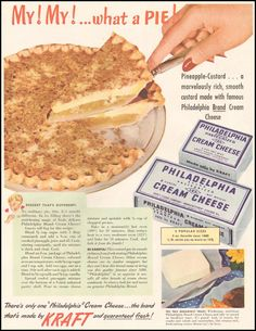 1950 recipe for Pineapple-Custard Cheesecake Need a dessert for your Independence Day celebration? This is a pretty easy cheesecake. I found it in a 1950 ad for Philadelphia Brand Cream Cheese. Retro Recipes, Old Recipes, Vintage Recipes, Cooking Recipes, Blender Recipes, Cookbook Recipes, Kraft Foods, Kraft Recipes, Köstliche Desserts