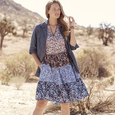 We're always fans of the mixed bouquet. #LoveWhatYouWear Woman Within, Comfy Dresses, Plus Size Dresses, Fans, Bouquet, Jackets, Women, Fashion, Down Jackets