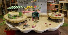 Beach themed miniature garden. we used multiple layers, sand and shells to create this large fairy garden | Succulent Displays | Pinterest | Gardens, We and Mi…