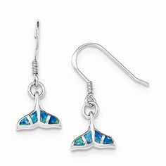 Sterling Silver Rhodium Created Opal Dolphin Tail Shepherd Hook Earrings