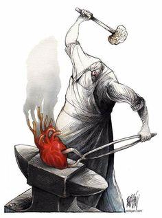 Meaningful Illustration by Boligan Corbo Art And Illustration, Heart Vs Brain, Anatomy Art, Heart Art, Surreal Art, Oeuvre D'art, Caricature, Art Drawings, Street Art