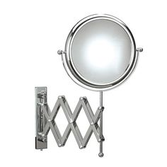 Magnificent designer high-end modern accordion style reversible wall mounted bathroom magnifying mirror.
