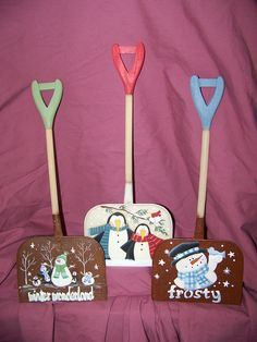 Winter Wonderland - Painted shovels I am not so artistic - But snowmen on shovels...I can do this!