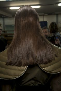 We think this sleek straight look is perfect on brunette hair; created by Anthony Turner for JW Anderson #AW16