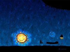 Wake Up by vladstudio on DeviantArt Wallpaper 1920x1200, Wallpapers, Mobile Wallpaper, Sun Drawing, Cartoon Sun, Magical Images, Moon Setting, Six Feet Under, Good Night Moon