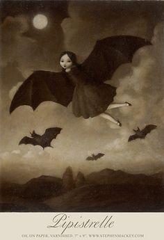 Pipistrelle Oil on Paper, Varnished, 7 x Stephen Mackey Arte Horror, Horror Art, Creatures Of The Night, Wow Art, Design Graphique, Gothic Art, Pics Art, Halloween Art, Art Design