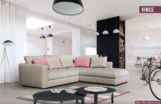 Rózsaszín ülőgarnitúra inspiráció: sarok ülőgarnitúra rózsaszínű párnákkal