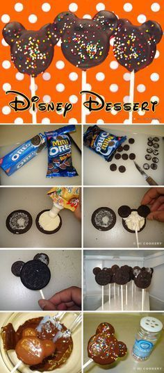 DIY: Mickey Mouse chocolate covered Oreos. If you can find them, these would be even more delightful with Disney Mickey Mouse Halloween sprinkles!