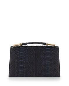 Charlotte Origami Python & Leather Evening Clutch Bag, Navy, Women's - Jason Wu
