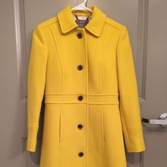 J. Crew Double Cloth Lady Day Coat in P00/Yellow This Flattering coat is cut from J. Crew's signature double-cloth wool, which they have used in their collection every single year since 2001. It takes color beautifully and is made exclusively for you by Italy's Manifattura di Carmignano mill. It is in an excellent condition. Please feel free to contact me for details and pricing via fashionlover77@yahoo.com. Price is lower on Mercari. J. Crew Jackets & Coats Pea Coats