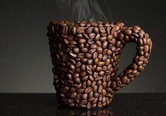 Mug made of coffee beans