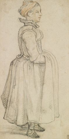 """""""A standing girl with her hands under her apron"""" by Hendrick Avercamp (1620) in the Royal Collection, UK"""
