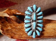 Size 8 turquoise cluster petit point ring Native American Jewelry  womens jewelry womens gifts turquoise jewelry Zuni Navajo Cherokee horse