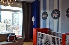 Project Nursery - Modern Blue and Orange Nursery with Striped Wall - Project Nursery