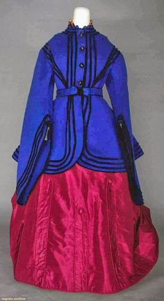 In the Swan's Shadow: BLUE WOOL DAY JACKET, c. 1860 Sapphire blue wool broadcloth, black velvet buttons and trim.  Augusta Auctions