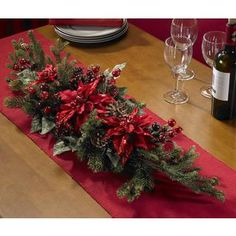 Poinsettia and Berry Centerpiece Silk Plant | Overstock.com Shopping - The Best Deals on Seasonal Decor