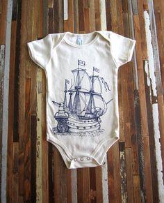 Organic Cotton Onesie - Screen Printed American Apparel Baby Onesie - Vintage Ship Illustration- Eco Friendly - Nautical (You pick size). $14.00, via Etsy.