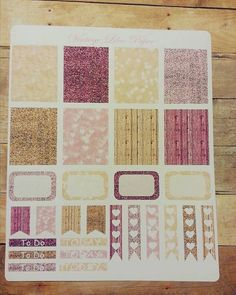 Planner Sticker Set in Pink and Gold Sparkle: by VintageLilacPaper