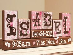Personalized Baby Name Blocks - Unique Baby Gift - Birth Stats Sign - Name Letter Blocks - Childs Room Decor - 6 Letters First Name Wooden Letters, Wooden Blocks, Glass Blocks, Baby Name Blocks, Letter Blocks, Wood Block Crafts, Wood Crafts, Unique Baby Gifts, Kids Wood