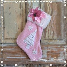 Pink chenille  Christmas stocking , Shabby chic decor for the mantle