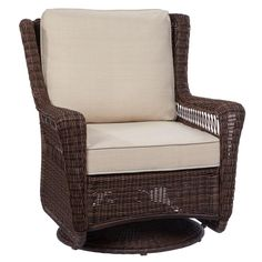 Hampton Bay Park Meadows Brown Swivel Rocking Wicker Outdoor Lounge Chair with Beige Cushion at The Home Depot - Mobile Wicker Patio Chairs, Outdoor Rocking Chairs, Outdoor Lounge Chair Cushions, Outdoor Wicker Furniture, Patio Cushions, Patio Seating, Patio Table, Room Chairs, Dining Chairs