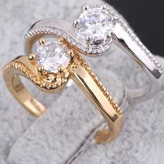Real Yellow/ White Gold Filled 6 Prongs 1 Carat Single CZ imitated zirconia Simple Engagement Rings