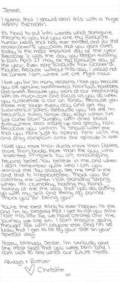 Ein (wörtlicher) Brief an Jesse: Alles Gute zum Geburtstag. # … Una carta (literal) a Jesse: feliz cumpleaños. # … # The post Una carta (literal) a Jesse: feliz cumpleaños. Birthday Wishes For Boyfriend, Bff Birthday Gift, Birthday For Him, Birthday Love, Birthday Letters To Boyfriend, Anniversary Letter To Boyfriend, Birthday Paragraph For Boyfriend, Birthday Celebration, Birthday Suprises For Boyfriend