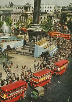Trafalgar Square, London. August 1953 and the grandstands erected for the Coronation of Queen Elizabeth II in June are being dismantled. Leonard Bentley flickr