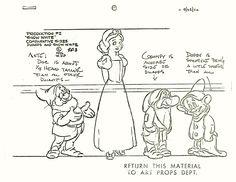 Model sheet for Disney's Snow White (1937).