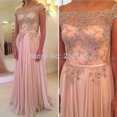 Gorgeous Off the shoulder Beaded/Crystal Long Chiffon Evening Dresses 2014 Cheap Summer Vestidos De Fiesta Longo   $159.00