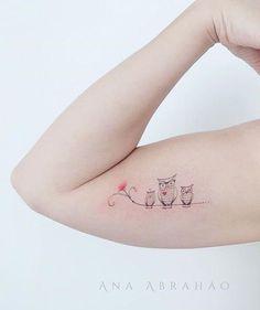 Tattoo owl, owl tattoos on arm, mama tattoo, mommy tattoos, family tattoos Baby Owl Tattoos, Owl Tattoos On Arm, Owl Tattoo Small, Mommy Tattoos, Small Tattoos For Guys, Small Wrist Tattoos, Family Tattoos, Tattoos For Daughters, Body Art Tattoos