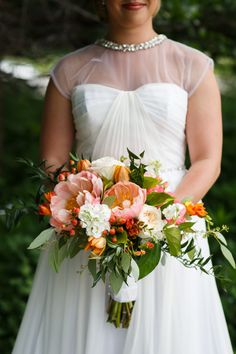 Peonies and greenery: http://www.stylemepretty.com/2015/09/14/25-breathtaking-bouquets-perfect-for-fall/