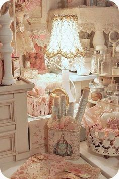 Image result for shabby chic doilie lampshades