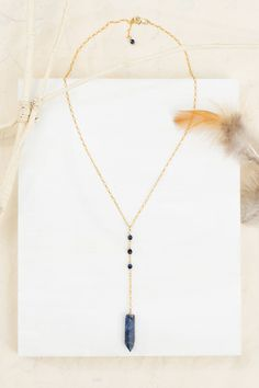 Gemstone lariat necklace // boho Y necklace // gold pendant necklace // bohemian necklace // bohemian jewelry // delicate necklace // gifts for her - Sun Lark Studio