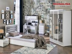 Mobila dormitor moderna Tineret - Copii Baron alb Baron, Entryway, Room Ideas, Interior, Furniture, Home Decor, Cots, Simple Lines, Entrance