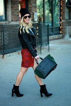Pair a ladylike print with edgy boots, glasses and a contrasting bag for an interesting look.