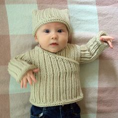 Knit-look crocheted sweater and hat. So cute for baby boys!