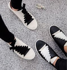 Sneakers | Black and white | Laces contrast | Diagonal Footwear | Shoes | Ann Demeulemeester designer