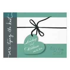 Heartstrings Save the Date mint Invite