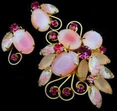 Vintage D E Juliana Pink Art Glass Rhinestone Brooch Clip Earring Set Gorgeous | eBay
