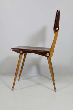 Carlo Di Carli; Walnut and Brass Side Chair for Cassina, 1954.