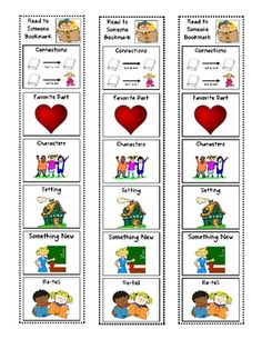 This bookmark is used during Read to Someone.  The students must complete an activity on the bookmark after each book they read with their buddy.  ...