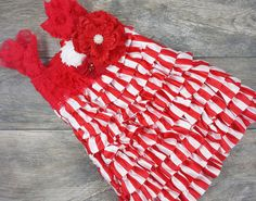 Girls Candy Cane Dress With Attached Flower Cluster Boutiner // Little Girls Holid // Toddler Christmas Dresses // 12 Months - 6 Years Christmas Dresses For Tweens, Toddler Christmas Dress, Valentines Day Dresses, Girls Christmas Dresses, Holiday Outfits, Girls Dresses, Girly, Candy Cane, 6 Years